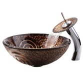Copper Luna Glass Vessel Sink and Waterfall Faucet