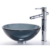 Clear Black Glass Vessel Sink and Bamboo Faucet