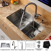 "Undermount 32"" Double Bowl 70/30 Kitchen Sink with Faucet and Soap Dispenser"