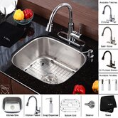 "Stainless Steel Undermount 20"" Single Bowl Kitchen Sink with 14.9"" Kitchen Faucet and Soap Dispenser"
