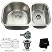 "Stainless Steel 16 Gauge Undermount 30"" Double Bowl Kitchen Sink"