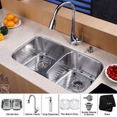 "32"" Undermount 50/50 Double Bowl Kitchen Sink with 18.5"" Faucet and Soap Dispenser"