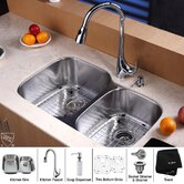 "32"" Undermount 60/40 Double Bowl Kitchen Sink with 18.5"" Faucet and Soap Dispenser"