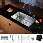 "30"" Undermount Single Bowl Kitchen Sink with 18.5"" Faucet and Soap Dispenser in Chrome"
