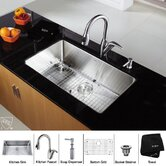 "30"" Undermount Single Bowl Kitchen Sink with 14.4"" Faucet and Soap Dispenser in Chrome"