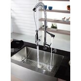 Three Handle Single Hole Bar Faucet with Soap Dispenser and Pull Out Sprayer