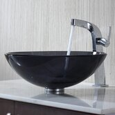 Glass Vessel Sink and Typhon Single Hole Faucet with Single Handle