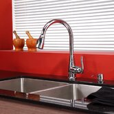 33 inch Undermount Double Bowl Stainless Steel Kitchen Sink with Chrome Kitchen Faucet and Soap Dispenser