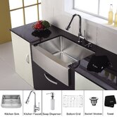 30 inch Single Bowl Stainless Steel Kitchen Sink with Chrome Kitchen Faucet and Soap Dispenser