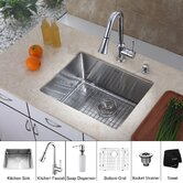 "19"" W x 32.75"" L Undermount Single Bowl Stainless Steel Kitchen Sink with Chrome Kitchen Faucet"