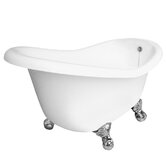 Ascot AcraStone Slipper Bath Tub with No Faucet Holes in White