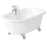 Celine AcraStone Double Ended Champagne Massage Bath Tub Faucet Package 1 in White