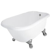 Trinity AcraStone Traditional Bath Tub with No Faucet Holes in White