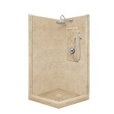 Premium Pivot Door Front-and-Left Threshold Shower Enclosure