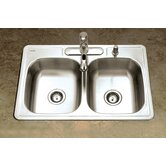 Glowtone Topmount Double Bowl 24 Gauge Kitchen Sink in Satin