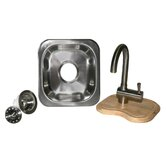 "Sinks To Go 12"" x 12"" Bar Sink Set in Brushed Stainless Steel"
