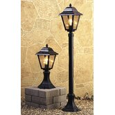 Four Panel Pillar Lantern in Black