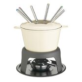Cast Iron Enamelled Fondue Gift Set with Six Forks - Cream