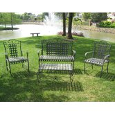 Iron Patio 4 Piece Bench Seating Group