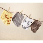 ''Sock Safari'' 4-Pair Animal Themed Sock Set