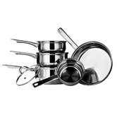 5 Piece Stainless Steel Cookware Set with Glass Lid