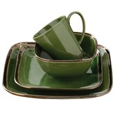 16 Piece Square Reactive Glaze Dinner Set in Bronze