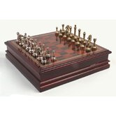 Metal Chessmen with Deluxe Wood Chess Board and Storage