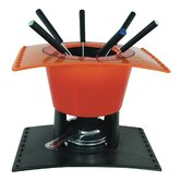 17 cm Fondue Set in Orange/Beige