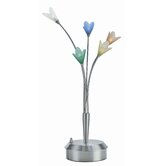 Flora Table Lamp in Steel with Colored Glass
