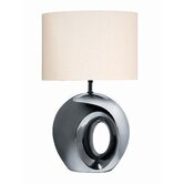 Ceramic Table Lamp Finished in Black Chrome with Off-White Fabric Shade