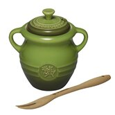 Olive Jar and Fork in Sage Green