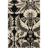 Tufted Pile Ebony/Cream Damask Rug