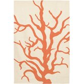 Flat-weave Dhurrie Cream/Orange Coral Rug