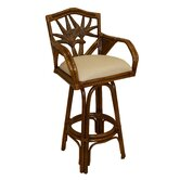 Cancun Palm Indoor Swivel Rattan 24&quot; Counter Stool in TC Antique Finish
