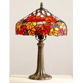 Maple Leaf Tiffany Table Lamp in Red and Orange