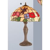 Beige Dragonfly Tiffany Table Lamp in Multi Colours