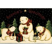 Home for the Holidays Polar Bears Holiday Novelty Rug