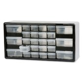 Stackable Cabinet, 26 Drawers, 20&quot;x6-3/8&quot;x10-11/32, Black/Gray
