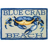 Accents Waterfront Blue Crab Beach Novelty Rug
