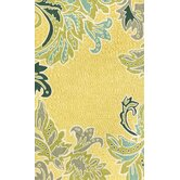 Ravella Ornamental Leaf Boder Yellow Indoor / Outdoor Rug