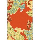Ravella Ornamental Leaf Boder Orange Indoor / Outdoor Rug
