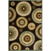 Fusion Retro Flowers Dark Wine Rug
