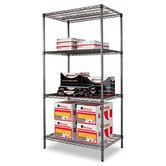 36&quot; W x 24&quot; D Industrial Wire Shelving Starter Kit in Black