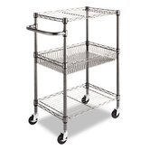 Wire Shelving Three-Tier Rolling Cart in Black Anthracite