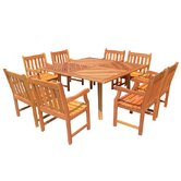 Nine Piece Outdoor Teak Dining Set