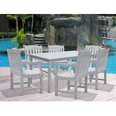 Bradley Rectangular Extension Dining Table and Six Slat Armchairs Set