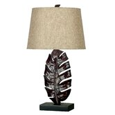 Frond One Light Table Lamp in Mottled Bronze