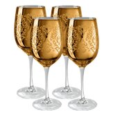 Brocade Wine Glass in Gold (Set of 4)