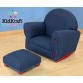 Denim Rocker and Ottoman