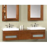 "64"" Wall Mount Drawer Bridge Bathroom Vanity"
